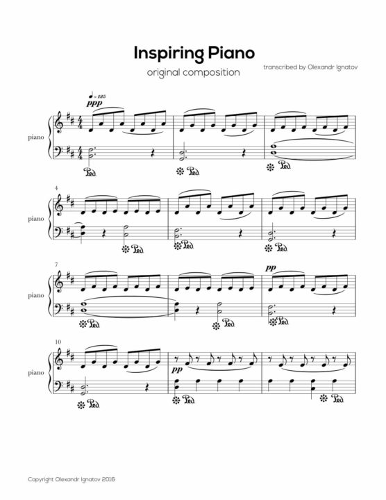 Olexandr Ignatov – Inspirational Piano (Sheet Music)